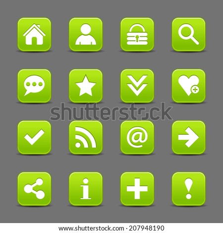 16 green satin icon with white basic sign on rounded square web button with black shadow on dark gray background. This vector illustration internet design element save in 8 eps - stock vector