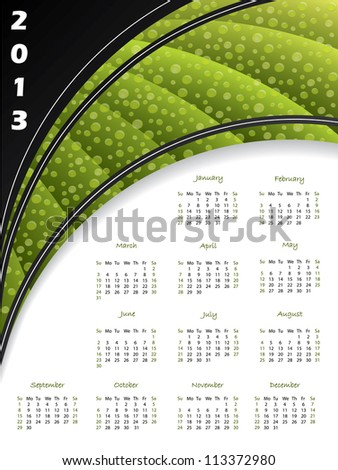 2013 green striped calendar with water drops - stock vector