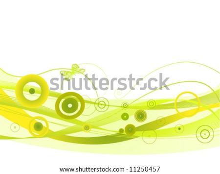 green waves vector - stock vector