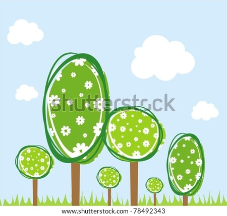 Green world. Stylized vector background - stock vector