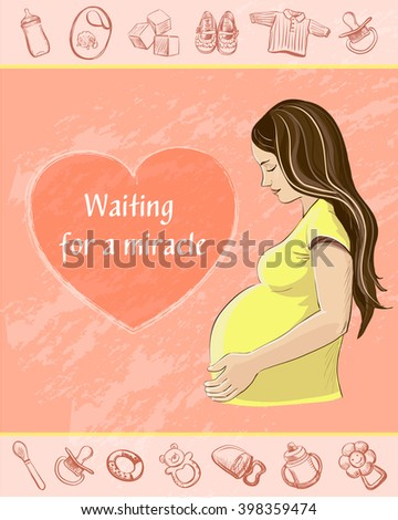 Greeting Card Mother's Day . Congratulations to the expectant mother . The card is decorated with sketches of children's things - rattles, bottles , booties and clothes. - stock vector