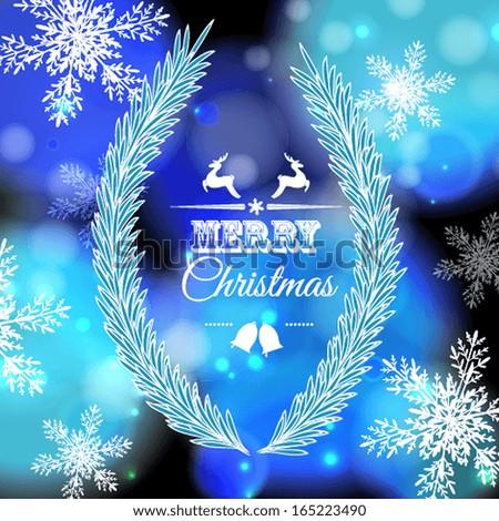 Greeting card with a festive wreath. Christmas wreath with fir and holly. - stock vector