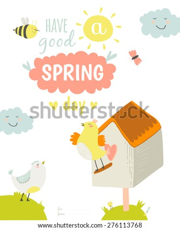 Greeting card with cute and funny vector Summer illustration. Inspirational and motivational quotes poster. Good for happy birthday greetings and other holidays. Children's subjects. Hello sunshine - stock vector