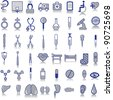 48 grey medical icons on a white background - stock vector