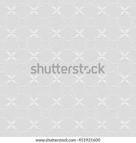 Grey Seamless Pattern in Oriental style. Abstract Geometric Ornament - East motif . Vector background