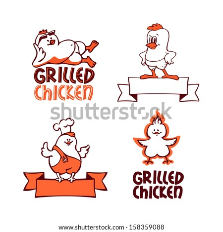 Grilled chicken. Company logo set  - stock vector