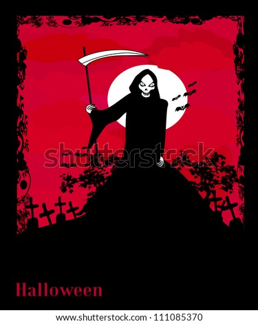 Grim reaper with Halloween sign - vector illustration. - stock vector