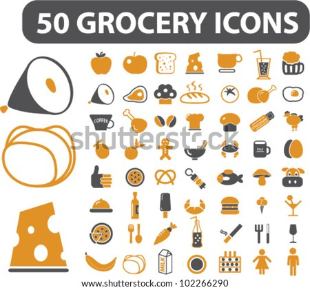 50 grocery food icons ...