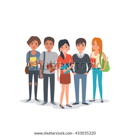Group of young international students. Students team. Vector students illustration. - stock vector
