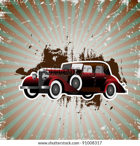 Grunge background with retro car.Vector illustration - stock vector