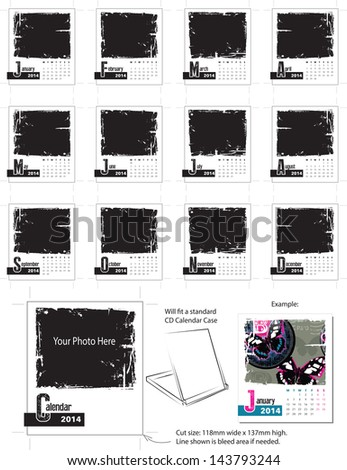 2014 Grunge Desk Calendar Vector Template. Simply add your own photos and company name and you are ready to print. - stock vector