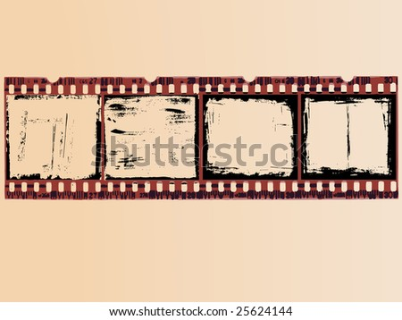 4 Grunge Film Cells - stock vector