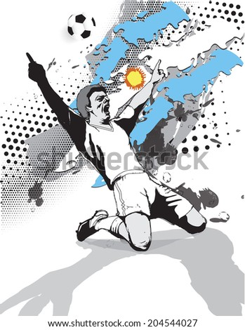 grunge style image of the flag and the victory of the football player on the football field of Argentina.vector illustration