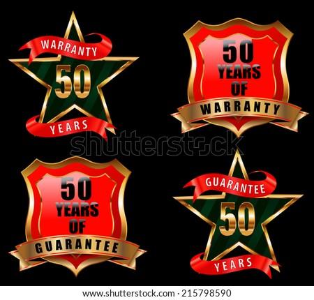 50 guarantee and warranty badge, guarantee sign, warranty label - vector eps 10 - stock vector