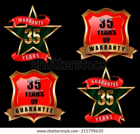 35 guarantee and warranty badge, guarantee sign, warranty label - vector eps 10 - stock vector