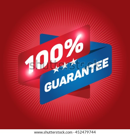 100% GUARANTEE arrow tag sign icon. Special offer label. Red background.