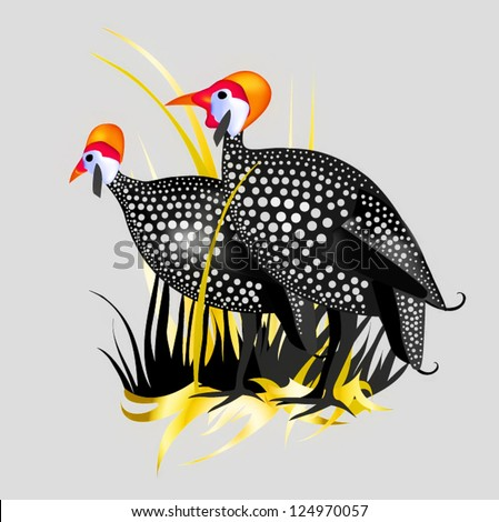 guineafowl a couple of chickens against the grass and the village landscape graphics drawn