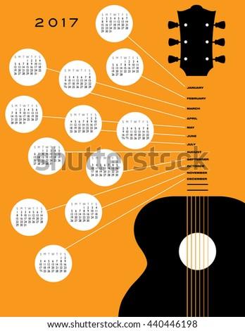 2017 Guitar calendar, ideal for gig calendar - stock vector