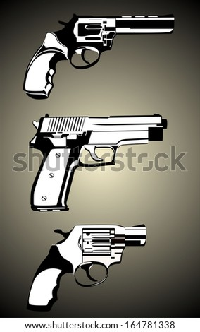 guns set - stock vector