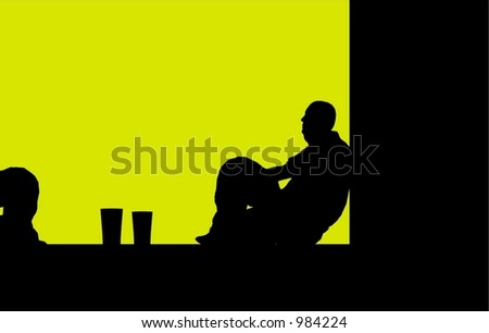 2 guys sit outside and talk over a pint - stock vector
