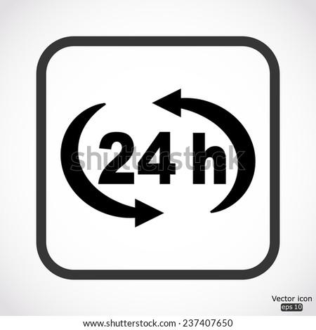 24 h icon - black vector illustration - stock vector