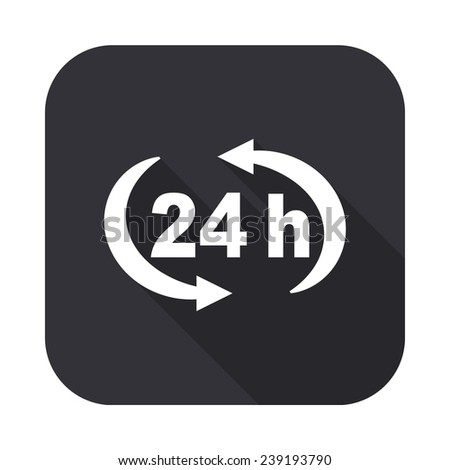 24 h icon - vector illustration with long shadow isolated on gray - stock vector