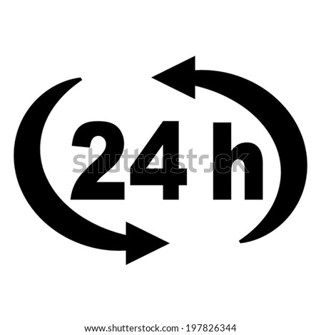 24 h -  vector black icon - stock vector