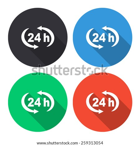 24 h vector icon - colored(gray, blue, green, red) round buttons with long shadow - stock vector
