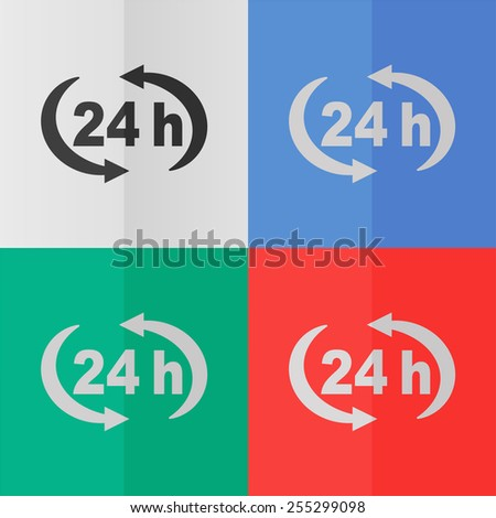 24 h vector icon. Effect of folded paper. Colored (red, blue, green) illustrations. Flat design - stock vector