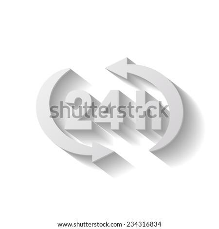 24 h vector icon - paper illustration - stock vector