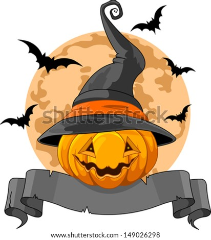 Halloween Design with Pumpkin wearing witch hat - stock vector