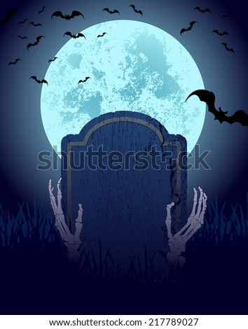 halloween greeting card with skeleton, vector illustration