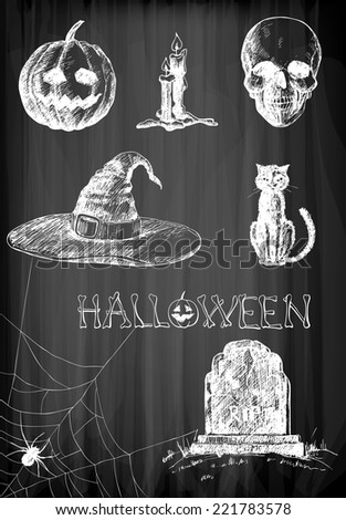 Halloween set. Hand- drawn Halloween related objects  and  animals - pumpkin, candles, skull, hat, cat, spider and tombstone on chalkboard background. - stock vector