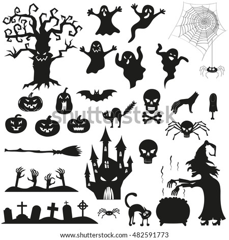 Delightful Halloween Spooky Black Silhouettes. Vector Icons For Halloween Invitation  Card Or Halloween Party Poster Vector