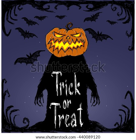 Halloween vector poster Trick or treat. Bats fly, creepy pumpkin and letters. Drawing and lettering is handmade are made with white chalk and black ink. This useful to cards, poster, invitations. - stock vector