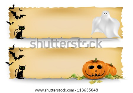 Halloween vertical banners width Halloween elements. - stock vector