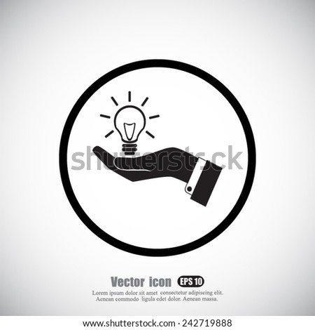 hand and   bulb vector icon - stock vector