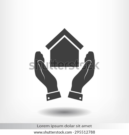 hand and house  icon - stock vector