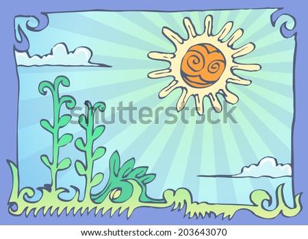hand draw cartoon plantation and sun - stock vector