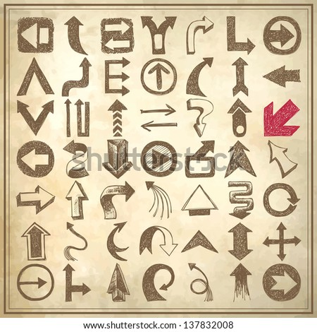 49 hand draw sketch arrow element collection, icons set on grunge paper background - stock vector