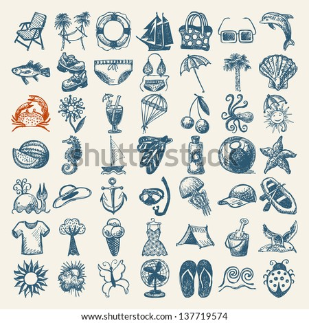 49 hand draw sketch summer icons collection - stock vector