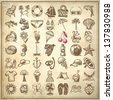 49 hand draw sketch summer icons collection on grunge paper background - stock vector