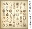 49 hand drawing doodle icon set on grunge paper background, medical theme - stock vector