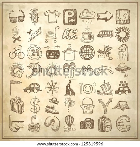 49 hand drawing doodle icon set on grunge paper background, travel theme