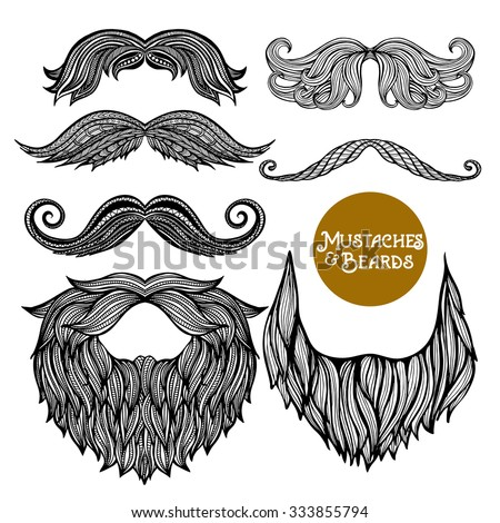 Hand drawn black decorative beard and mustache set on white background isolated vector illustration
