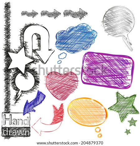 Hand-drawn, colorful and black-white speech bubbles, stars, heart and arrows  - stock vector