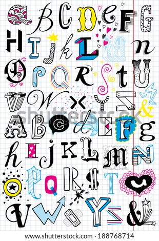 2 hand-drawn doodle alphabets - stock vector