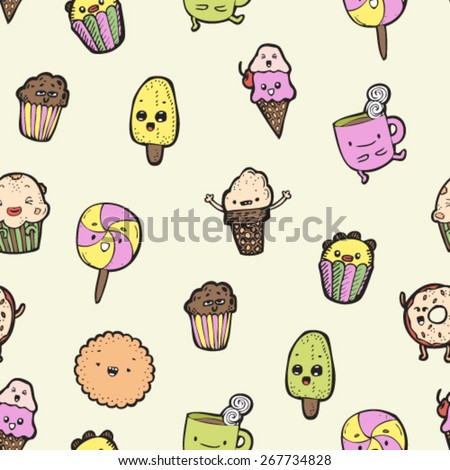 hand drawn doodle colorful candy, sweets, ice cream characters colorful seamless pattern, outlines - stock vector