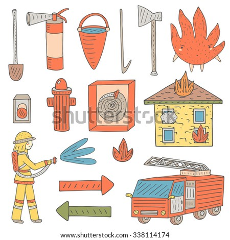 Hand drawn doodle objects collection that fireman needs.Fire objects set including bucket with water, alert button, house in fire, fire character, fire car, axe, hose, fire tube, extinguisher, shovel - stock vector