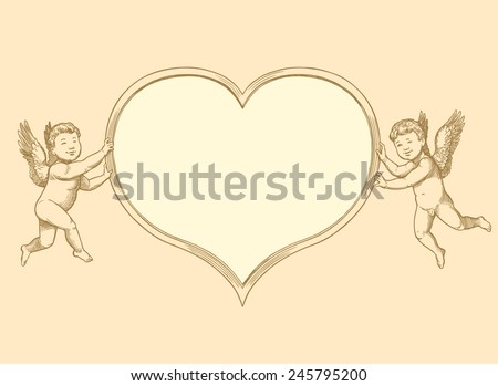 """Hand drawn engraving """" Valentines heart with Cupid. """" isolated on color background .8 EPS - stock vector"""